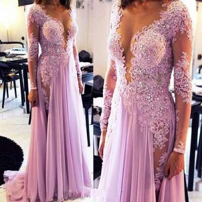 Sexy Lace Appliques Crystals 2020 Prom Dress V-neck Chiffon_1