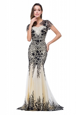 Sparkly Cap Sleeve 2020 Mother Of the Bride Dress Appliques Mermaid Evening Gown_1