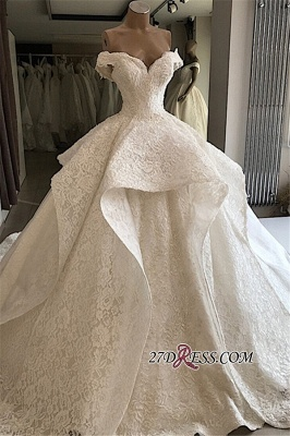 Beautiful Off-the-shoulder Lace Ball-Gown Wedding Dresses_3