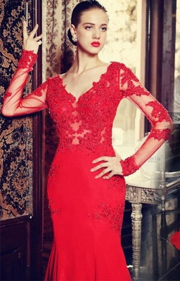 sexy red long sleeve mermaid prom dress with lace appliques sweep train_1