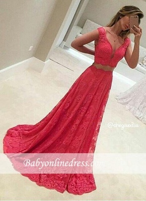 Two-Piece V-Neck Sleeveless Long Red Lace Mermaid Prom Dresses_2