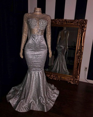 Glittering Long Sleeve Silver Prom Dress | 2020 Mermaid Sequins Long Evening Gowns BC1468_2