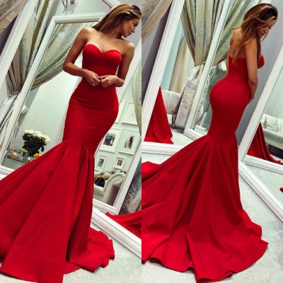 Glamorous Sweetheart Sleeveless Prom Dress | Red Mermaid Evening Gowns On Sale BC0445_4