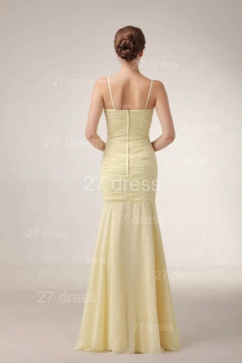 Elegant Yellow Mermaid Evening Dresses 2020 Spaghetti Straps Beadings Prom Gowns_4