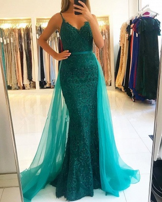 Gorgeous Spaghetti-Straps Lace Prom Dress | 2020 Mermaid Evening Gowns With Ruffles_4