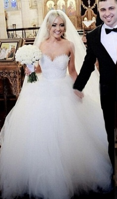 Newest White Tulle Lace Beadss Wedding Dress Sweetheart Sleeveless BA1408_2