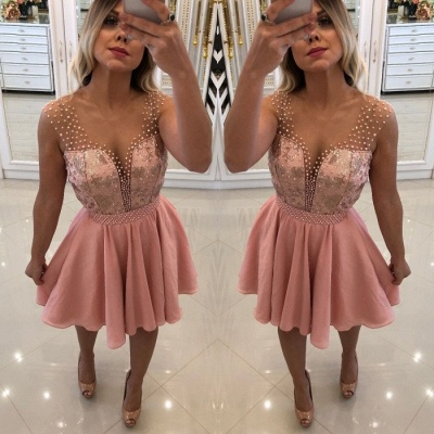 Pink Sequins Short Homecoming Dress | 2020 Short Prom Dress With Peals_4