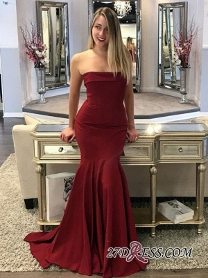 Mermaid Long Burgundy Strapless Sweep Train Prom Dresses_1