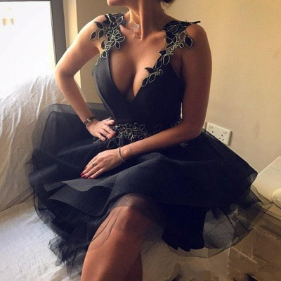Delicate Black Lace Flowers Homecoming Dress | Sheer Skirt Short Party Dress_4