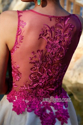 Short Sleeveless Fuchsia lovely Appliques Chiffon Lace Homecoming Dress_4