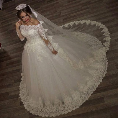 Princess off-the-shoulder Long Sleeve 2020 Wedding Dress lace Ball Gown Tulle_3