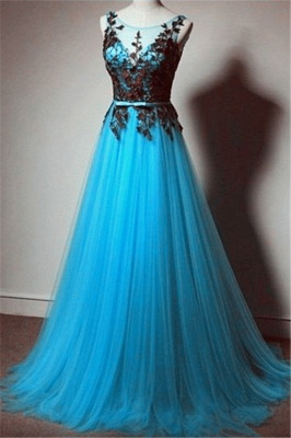 Elegant Illusion Tulle A-line Evening Dress With Appliques_2