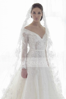 Bridal Long Sleeve Lace Wedding Dresses 2020 Elegant Off-the-shoulder Ball Gown Sweep Train Appliques Sash Sexy Gowns_2