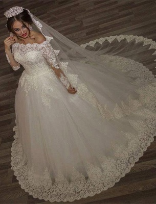 Princess off-the-shoulder Long Sleeve 2020 Wedding Dress lace Ball Gown Tulle_1