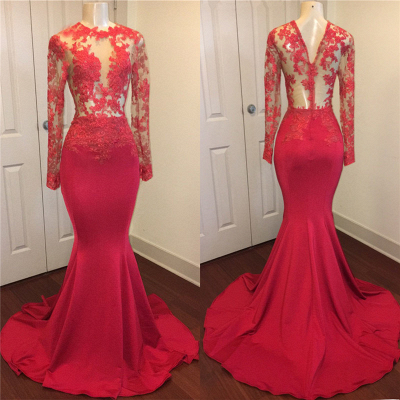 Red lace mermaid 2020 prom dress, long evening gowns online BA8403_1