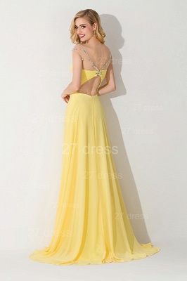 Delicate Illusion Cap Sleeve Evening Dress Yellow Chiffon_3
