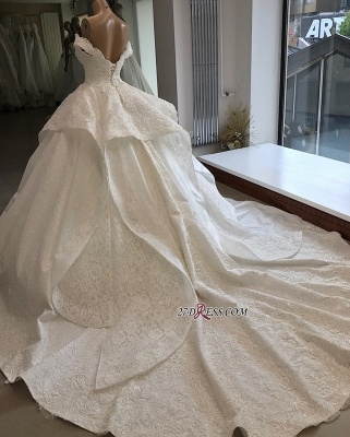 Beautiful Off-the-shoulder Lace Ball-Gown Wedding Dresses_1