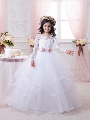 Ball-Gown Lace-Appliques Long-Sleeves Flower-Girl-Dresses_1