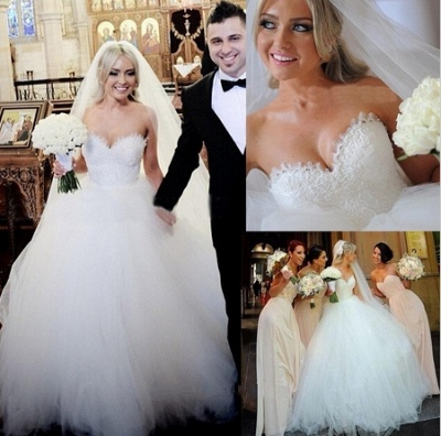 Newest White Tulle Lace Beadss Wedding Dress Sweetheart Sleeveless BA1408_3