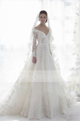 Bridal Long Sleeve Lace Wedding Dresses 2020 Elegant Off-the-shoulder Ball Gown Sweep Train Appliques Sash Sexy Gowns_1