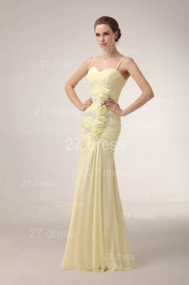 Elegant Yellow Mermaid Evening Dresses 2020 Spaghetti Straps Beadings Prom Gowns_5