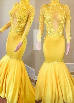 Elegant Long Sleeve Yellow Evening Dress | 2020 Mermaid Prom Gowns With Appliques BC1443_1
