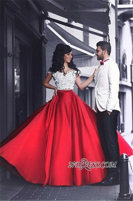 Lace Elegant Red Off-the-Shoulder Appliques Evening Dress_4