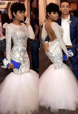 Sexy Long Sleeve 2020 Prom Dresses | Mermaid Sequins Long Evening Gowns On Sale BA8423_1