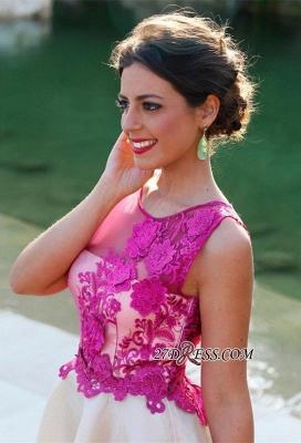 Short Sleeveless Fuchsia lovely Appliques Chiffon Lace Homecoming Dress_3