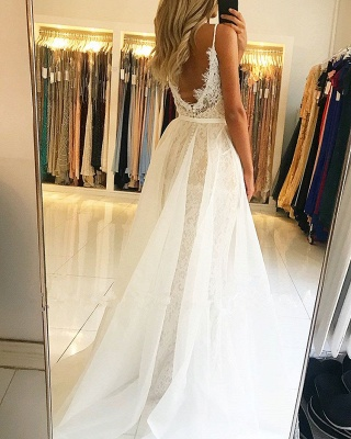 Gorgeous Spaghetti-Straps Lace Prom Dress | 2020 Mermaid Evening Gowns With Ruffles_3