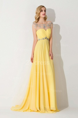Delicate Illusion Cap Sleeve Evening Dress Yellow Chiffon_2