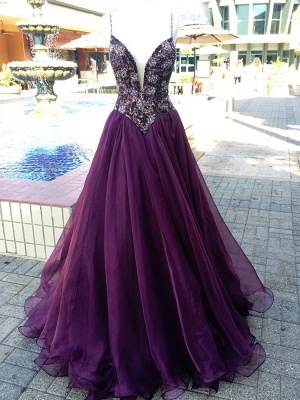Luxurious Spaghetti Strap A-Line 2020 Evening Gown   Sleeveless Beadings Front Split Prom Dress_2