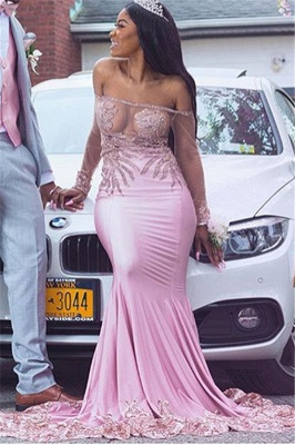 Pink Off-The-Shoulder Applique Mermaid Prom Dress | Long-Sleeves Sheer Tulle Evening Gown BC1670_3