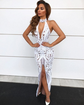Sexy Lace Halter Prom Dresses | 2020 Long Slit Evening Gowns On Sale BC1683_1