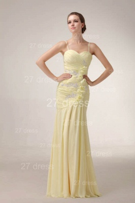 Elegant Yellow Mermaid Evening Dresses 2020 Spaghetti Straps Beadings Prom Gowns_2