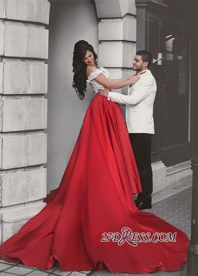 Lace Elegant Red Off-the-Shoulder Appliques Evening Dress_5
