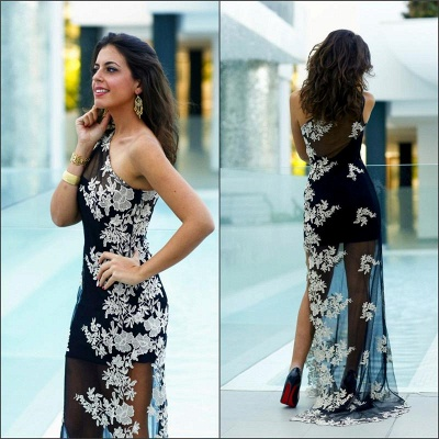 Sexy Tulle Appliques Bodycon Prom Dress 2020 One Shoulder Sweep Train_3