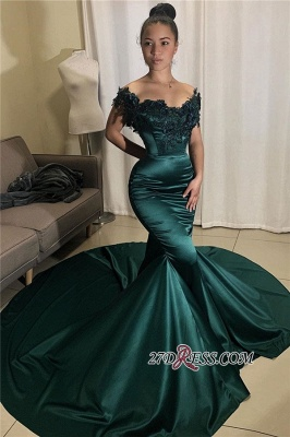 Beading Off-the-shoulder Applique Mermaid Prom Dress_1