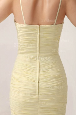 Elegant Yellow Mermaid Evening Dresses 2020 Spaghetti Straps Beadings Prom Gowns_6