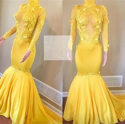 Elegant Long Sleeve Yellow Evening Dress | 2020 Mermaid Prom Gowns With Appliques BC1443_2