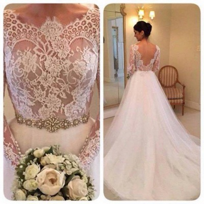 Elegant Illusion Long Sleeve Tulle Wedding Dress With Lace Beadings BA5175_2