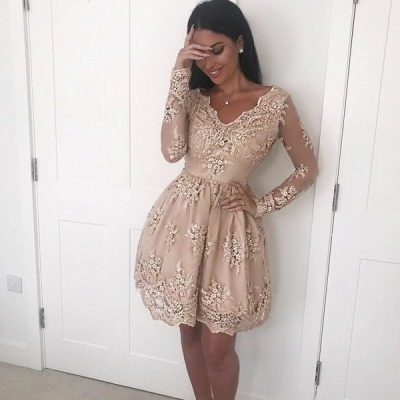 Elegant Long Sleeve Short Prom Dress   2020 Homecoming Dress With Lace Appliques_3