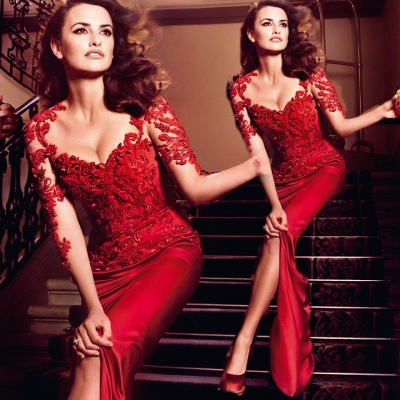 Hot Sale Red Lace Chiffon Evening Party dresses Short Sleeve Prom Dresses on sale_2