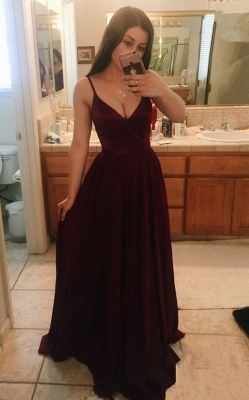 Sleeveless Long V-Neck Maroon Gorgeous Prom Dress BA8333_2