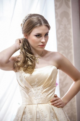 Glamorous Strapless Sleeveless Champagne Wedding Dress Floor-length With Appliques_2