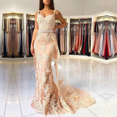 Beautiful Mermaid Lace Prom Dresses | 2020 Straps Evening Gowns With Ruffles BC0612_2
