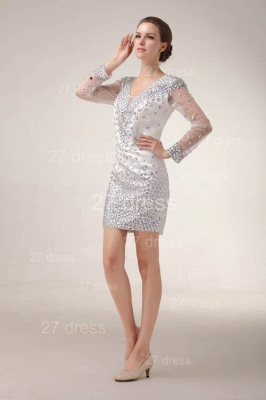 Mini V-Neck Sheath Homecoming Dresses 2020 Long Sleeve Crystal Cocktail Gowns_5