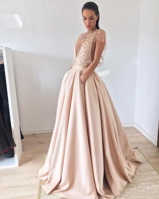 Cap-Sleeve 2020 Prom Dress | Beads Long Evening Gowns_3