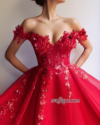 Off The Shoulder Empire A-Line Formal Dresses | Elegant Red Strapless Appliques Tulle Party Dresses_1