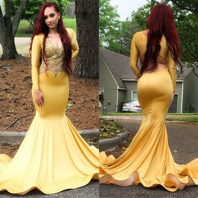 Gorgeous Yellow Long Sleeve Prom Dress | 2020 Mermaid Evening Gowns_3